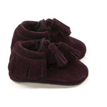 Tassle Winter Moccasins, Purple