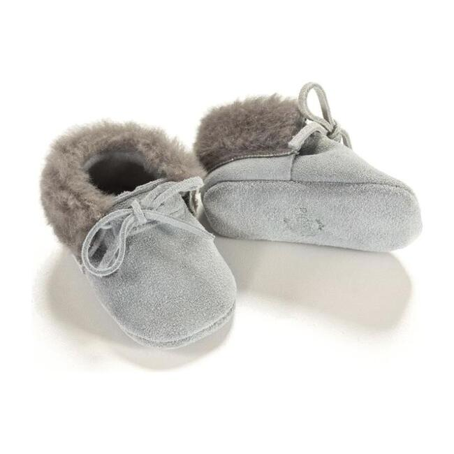 Shearling Moccasins, Gray - Loafers - 1