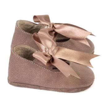 Gold Bow Moccasins, Rose