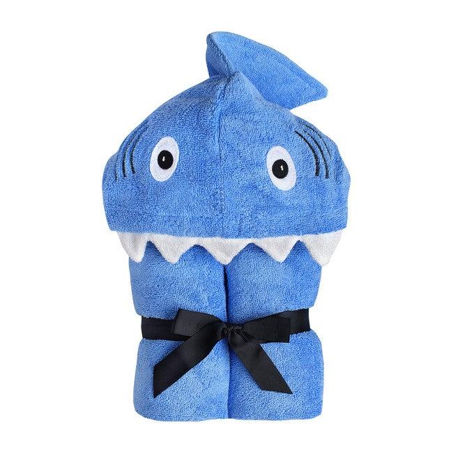 Shark Hooded Towel, Blue - Towels - 1