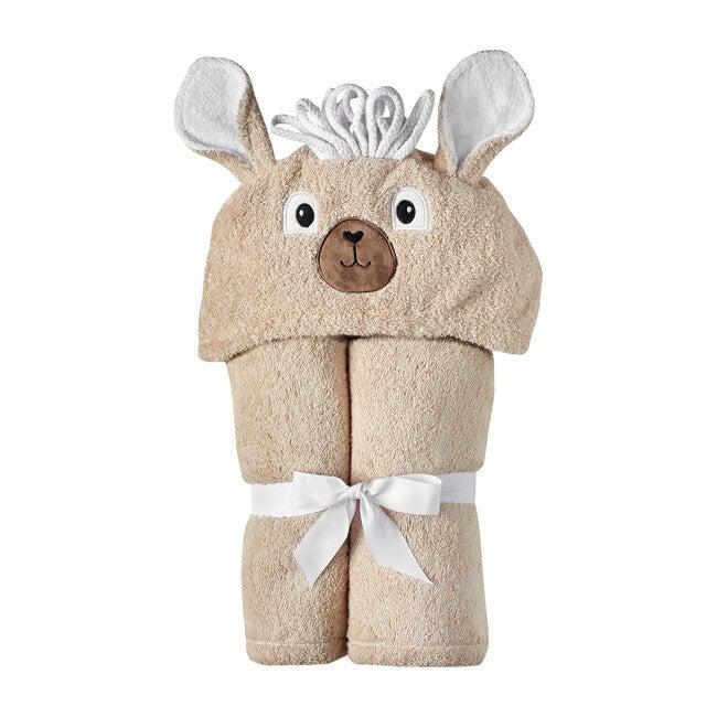 Llama Hooded Towel, White