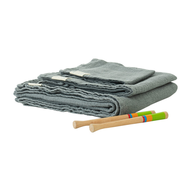 Linen Waffle Towel, Blue Fog