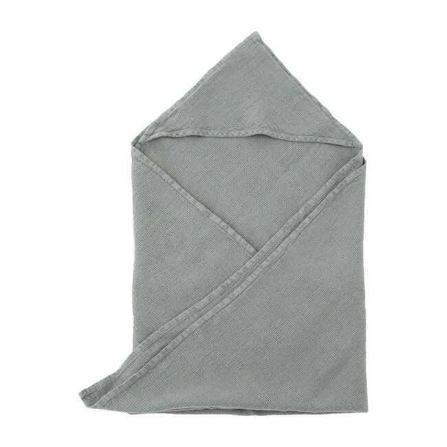 Linen Hooded Towel, Blue Fog