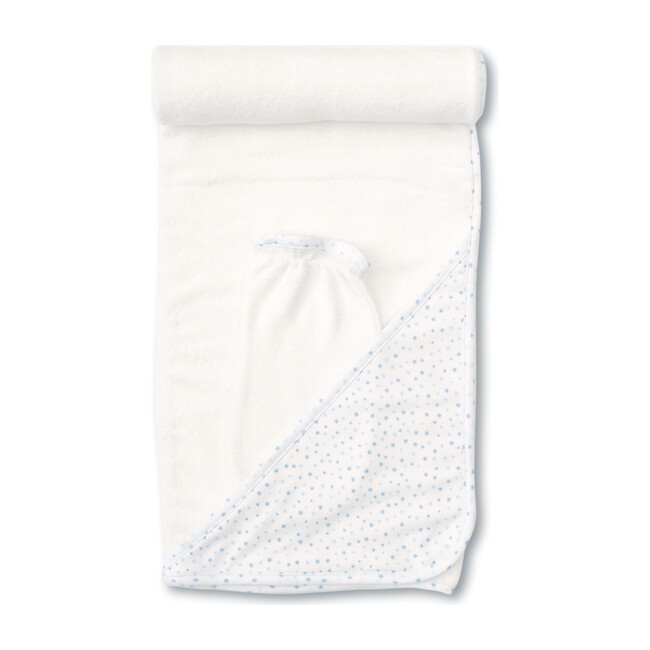 Superstars Hooded Towel & Mitt Set, White & Blue
