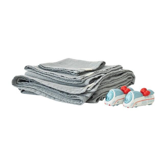 4-Piece Waffle Linen Towel Set, Light Grey