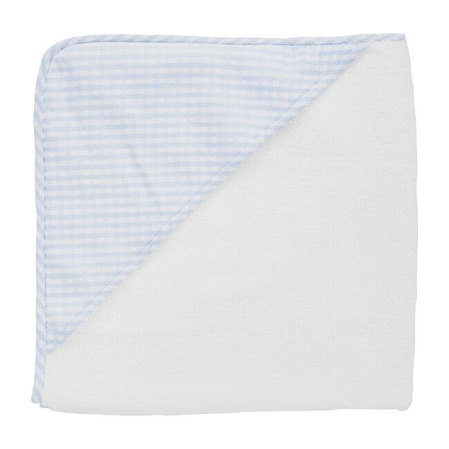 Hooded Towel, Pale Blue Gingham
