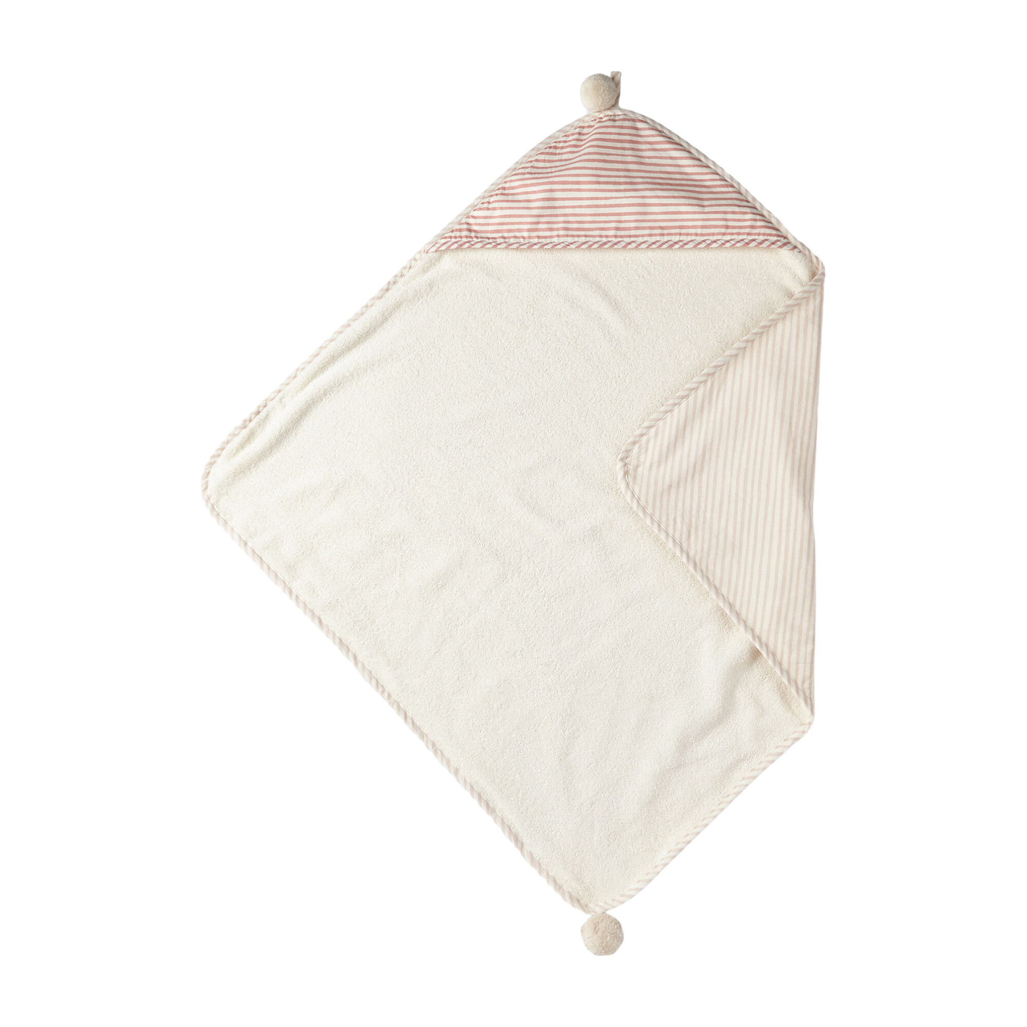 Stripes Away Hooded Towel, Petal/Dark Pink