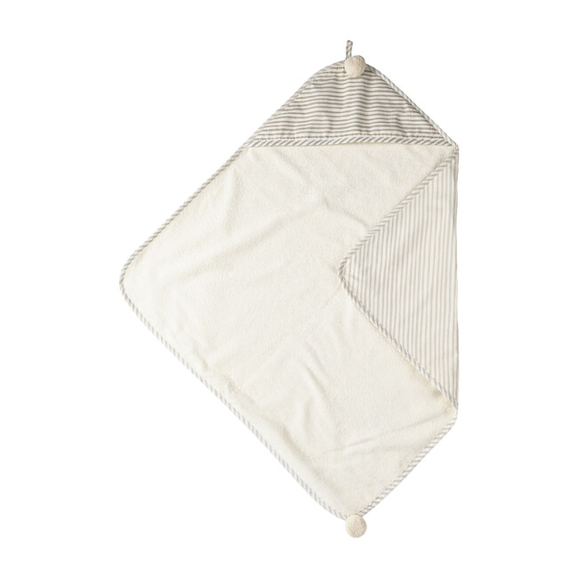 Stripes Away Hooded Towel, Pebble/Dark Grey