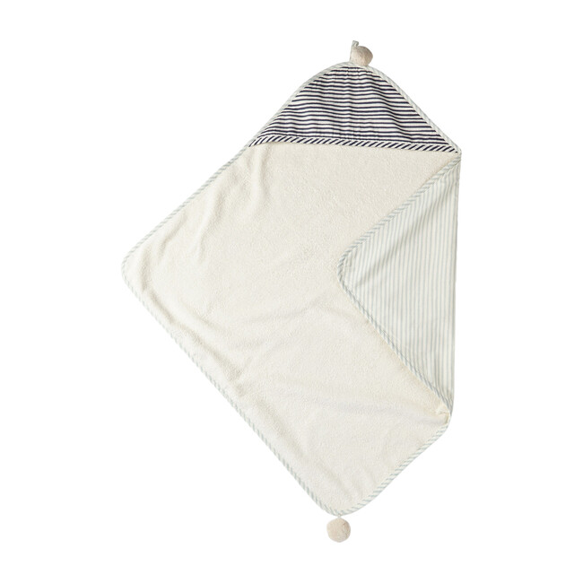 Stripes Away Hooded Towel, Sea/Ink
