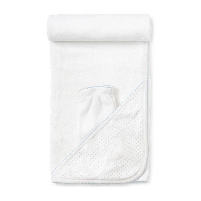 New Dots Towel & Mitt Set, White/Blue