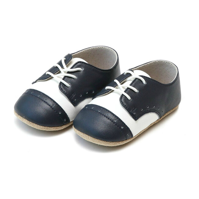 Bentley Leather Saddle Crib Shoe, White & Navy