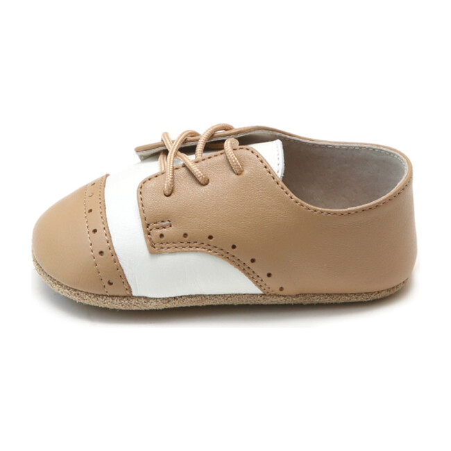 Bentley Leather Saddle Crib Shoe, White & Tan