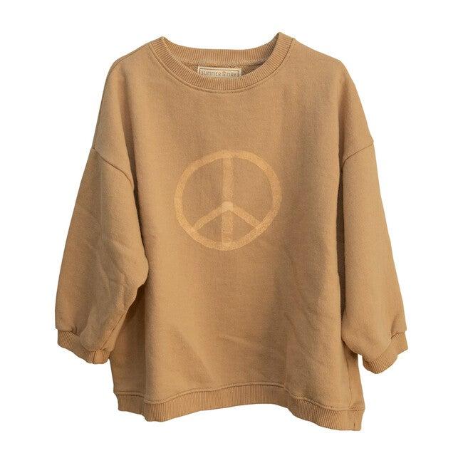 Adult Oversized Peace Sweater, Latte