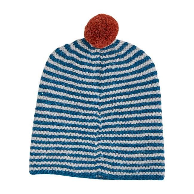 Striped Pom Hat, Teal/Rust