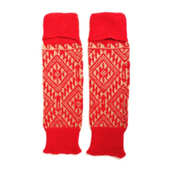 Leg/Arm Warmers, Red/Tan Aztec
