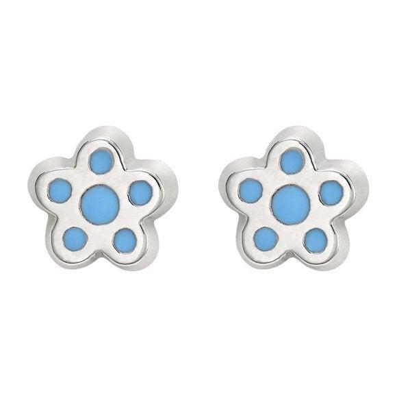Petite Silver Flower Studs, Blue