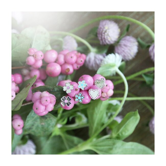 Petite Silver Clover Studs, Pink