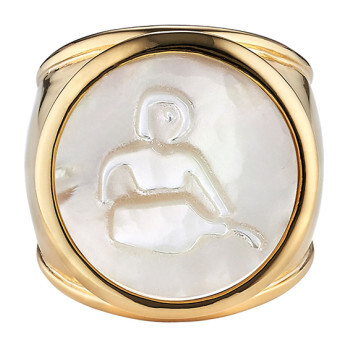Mother of Pearl Zodiac Ring, Size 8