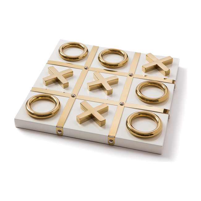 Tic Tac Toe, White with Gold