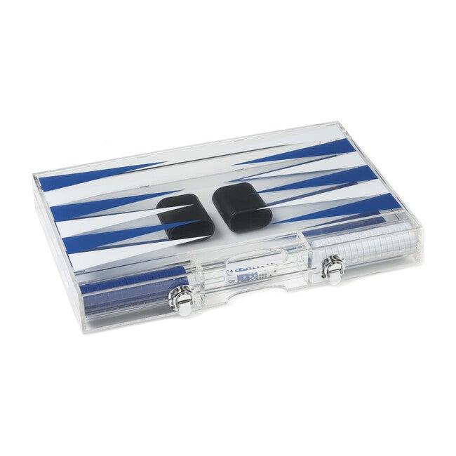 Acrylic Luxury Backgammon Set, Dark Blue and White