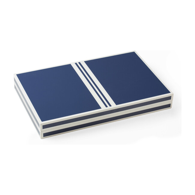 Lacquer Backgammon Set, Blue and White