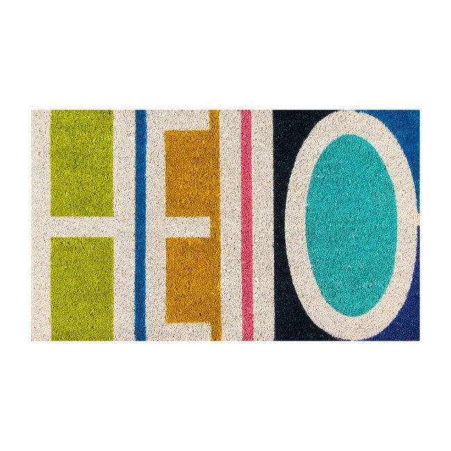 Aloha Hello Handwoven Coir Floormat, Multi