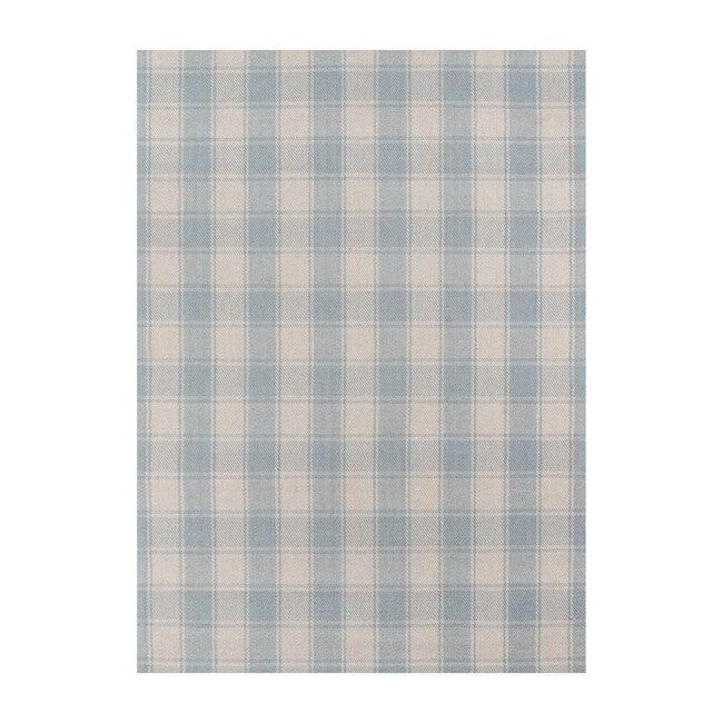 Marlborough Charles Plaid Handwoven Wool Rug, Light Blue