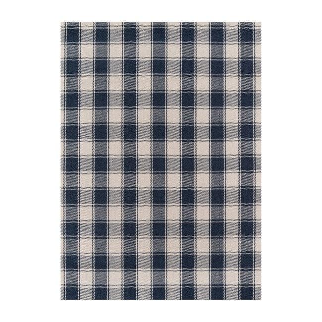 Marlborough Charles Plaid Handwoven Wool Rug, Navy