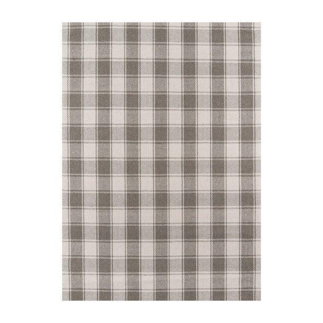 Marlborough Charles Plaid Handwoven Wool Rug, Grey