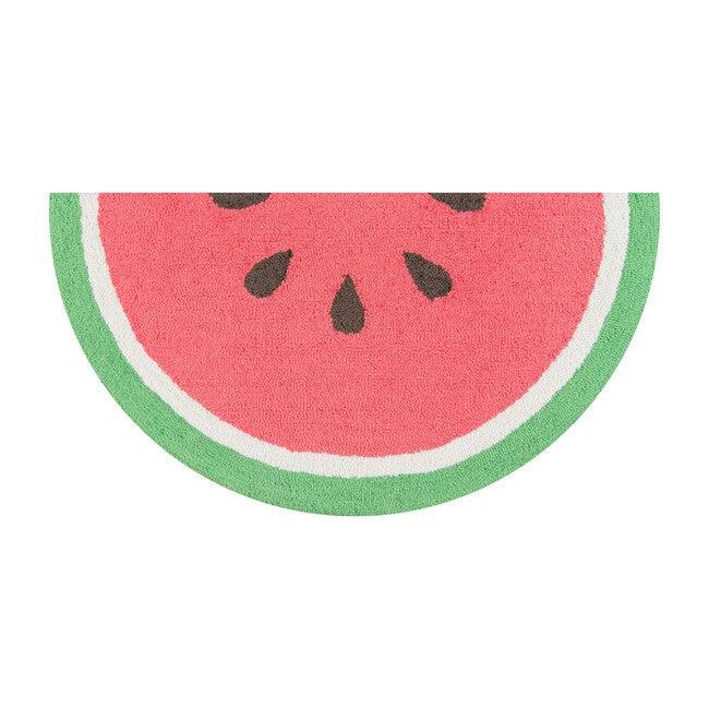 Watermelon Half Moon Hand-Hooked Rug, Red
