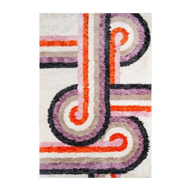 Retro Turnstyle Hand-Tufted Rug, Lavender