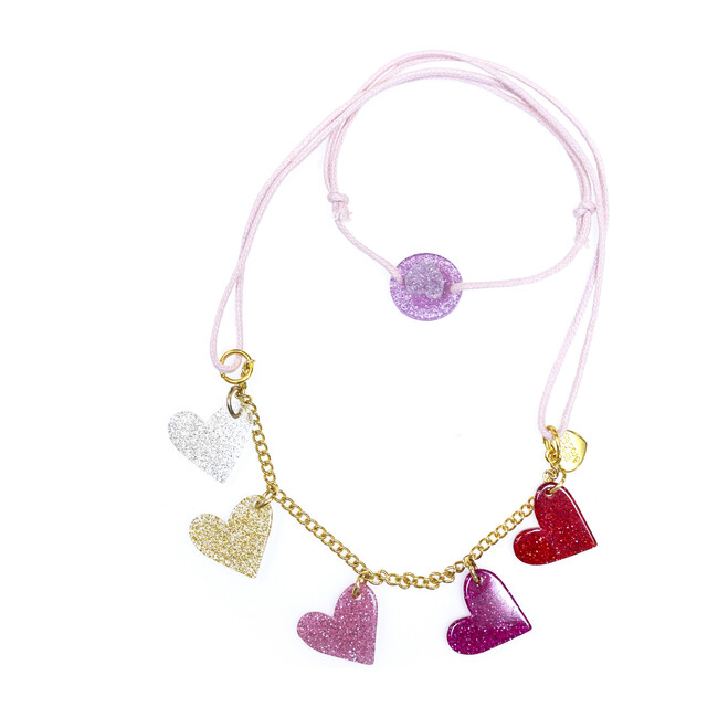 Glitter Heart Necklace, Pink