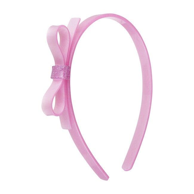 Thin Bow Headband, Satin Pink