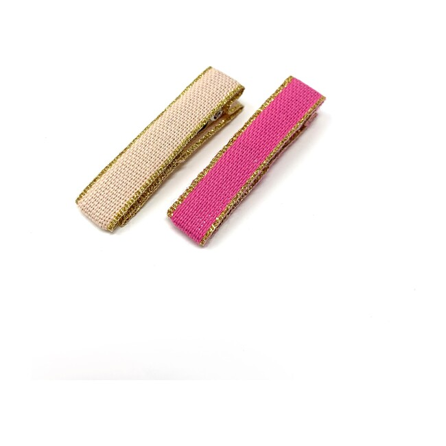 Ribbon Bar Clips, Blush and Bubblegum