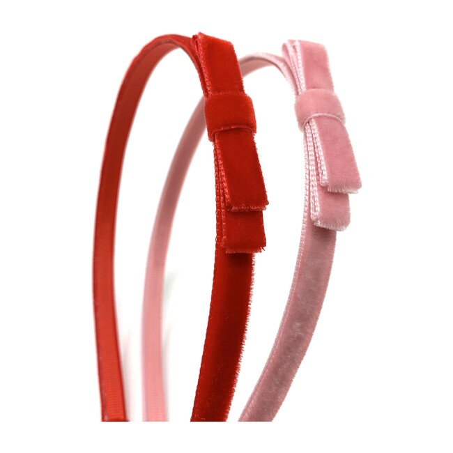 Velvet Headbands, Pink and Red