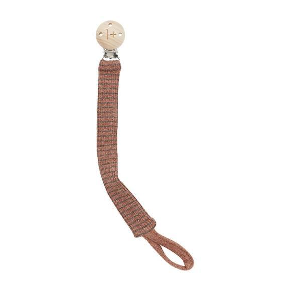 Yukon Pacifier Clip With Thin Stripes, Brown