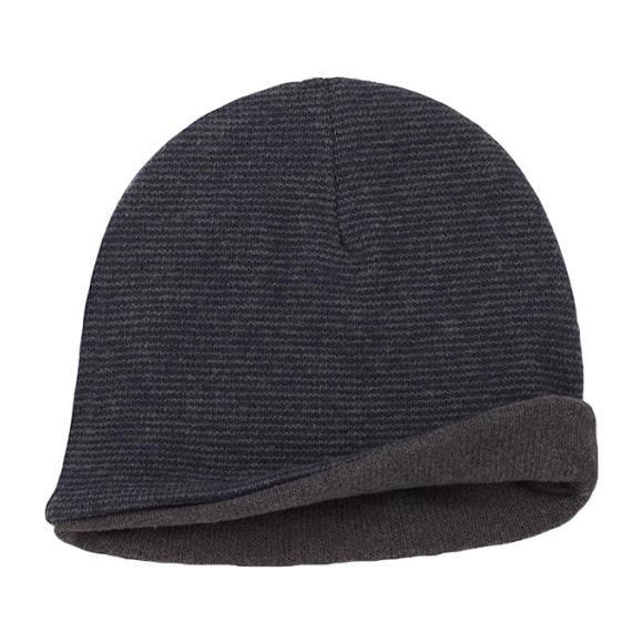 Megeve Reversible Hat With Thin Stripes, Grey