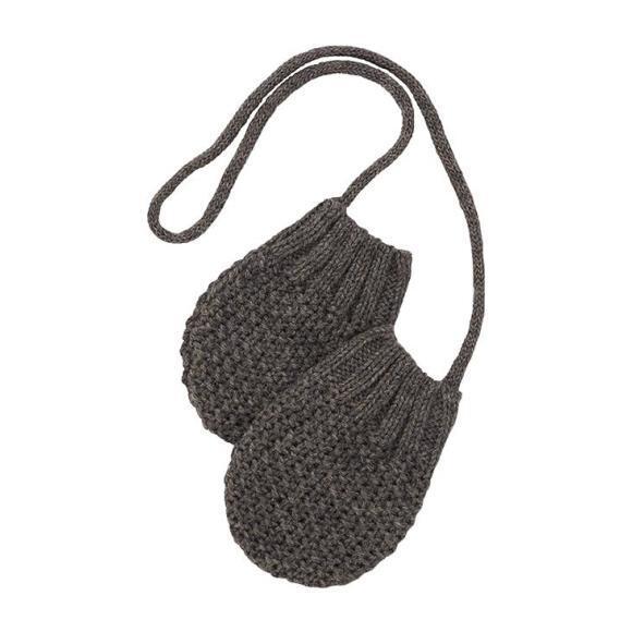 Grimsel Textured Knit Mittens, Grey