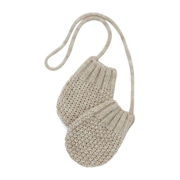 Grimsel Textured Knit Mittens, Beige