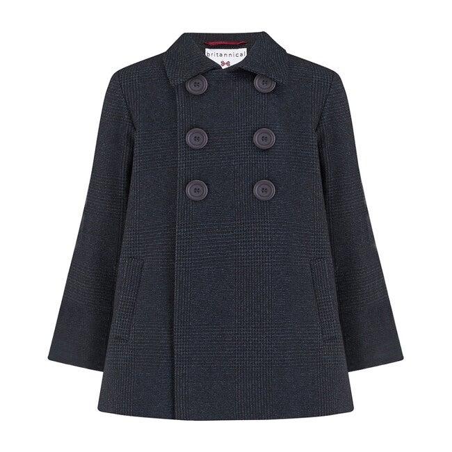 Pimlico Coat, Prince of Wales Navy - Wool Coats - 1