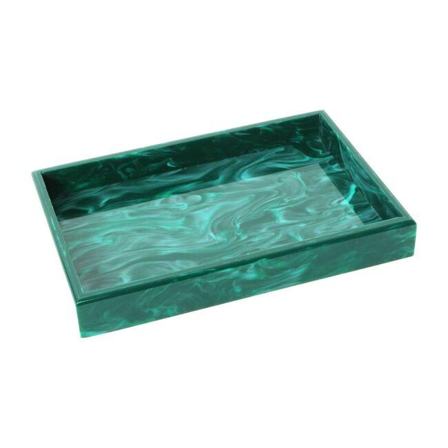 Acrylic Vanity Tray, Malachite Marble