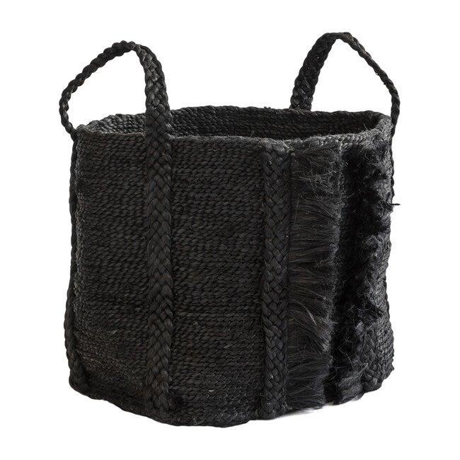 Bazar Medium Fringe Basket, Desert Black