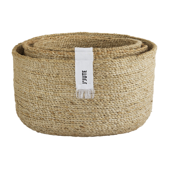Edition Round Set of 3 Jute Baskets, Natural