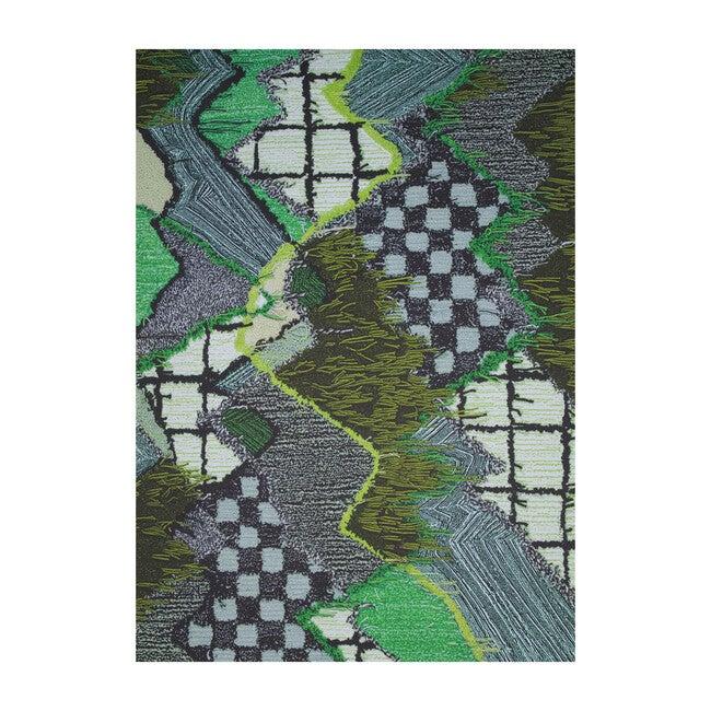 Upward Sweepable Shag Floormat, Green