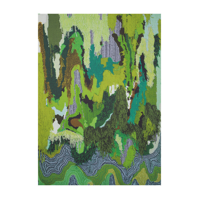 Flow Sweepable Shag Floormat, Green