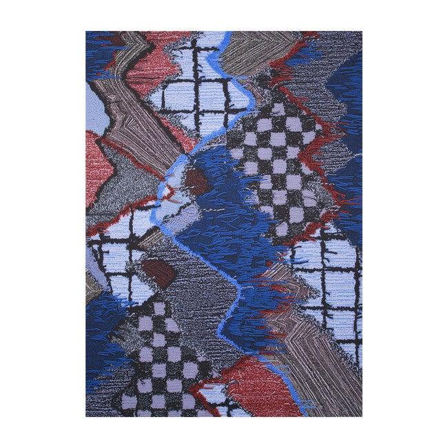 Upward Sweepable Shag Floormat, Blue