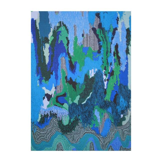 Flow Sweepable Shag Floormat, Blue