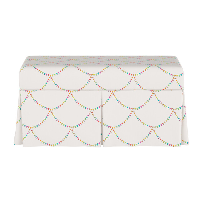 Skirted Storage Bench, Bunting Scallop Multi