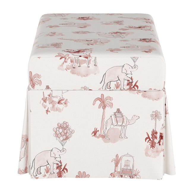 Skirted Storage Bench, Malin Toile Pink