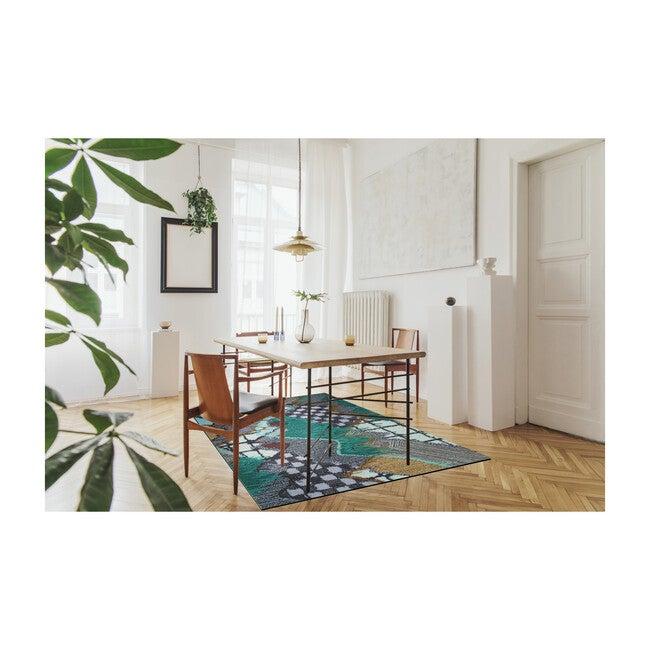 Upward Sweepable Shag Floormat, Cyan